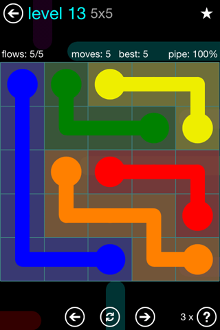 Solution and Answer to the Puzzle for Flow Blue Pack Set 5x5 Level 13