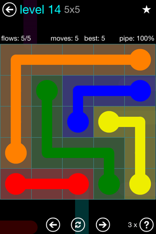 Solution and Answer to the Puzzle for Flow Blue Pack Set 5x5 Level 14