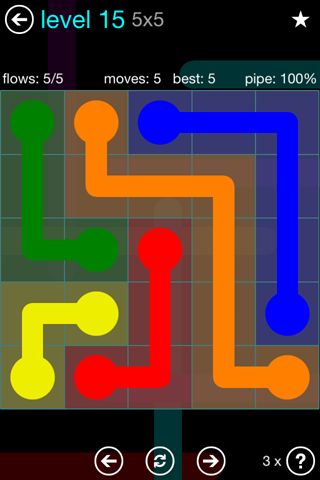 Solution and Answer to the Puzzle for Flow Blue Pack Set 5x5 Level 15