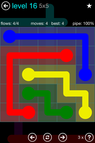Solution and Answer to the Puzzle for Flow Blue Pack Set 5x5 Level 16