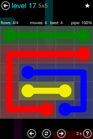 Solution and Answer to the Puzzle for Flow Blue Pack Set 5x5 Level 17