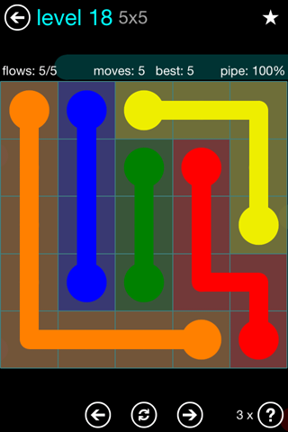 Solution and Answer to the Puzzle for Flow Blue Pack Set 5x5 Level 18