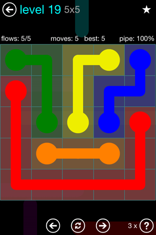 Solution and Answer to the Puzzle for Flow Blue Pack Set 5x5 Level 19