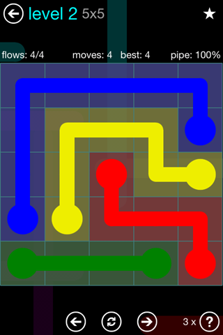 Solution and Answer to the Puzzle for Flow Blue Pack Set 5x5 Level 2