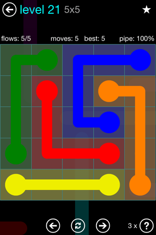 Solution and Answer to the Puzzle for Flow Blue Pack Set 5x5 Level 21