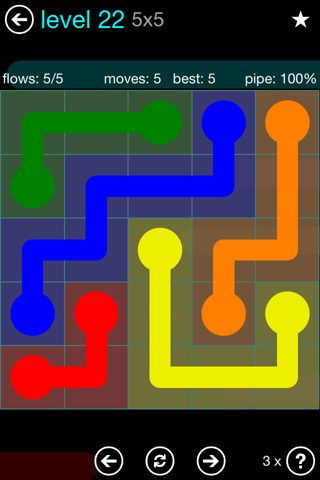Solution and Answer to the Puzzle for Flow Blue Pack Set 5x5 Level 22