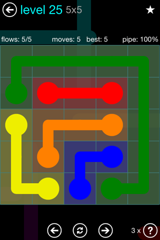 Solution and Answer to the Puzzle for Flow Blue Pack Set 5x5 Level 25
