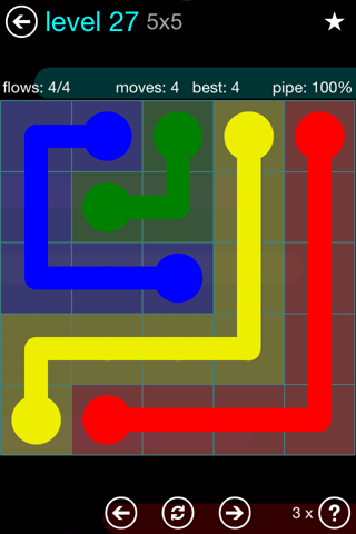Solution and Answer to the Puzzle for Flow Blue Pack Set 5x5 Level 27