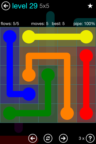 Solution and Answer to the Puzzle for Flow Blue Pack Set 5x5 Level 29