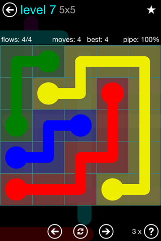 Solution and Answer to the Puzzle for Flow Blue Pack Set 5x5 Level 7