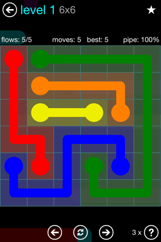 Solution and Answer to the Puzzle for Flow Blue Pack Set 6x6 Level 1