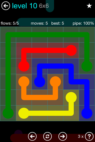 Solution and Answer to the Puzzle for Flow Blue Pack Set 6x6 Level 10
