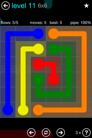 Solution and Answer to the Puzzle for Flow Blue Pack Set 6x6 Level 11