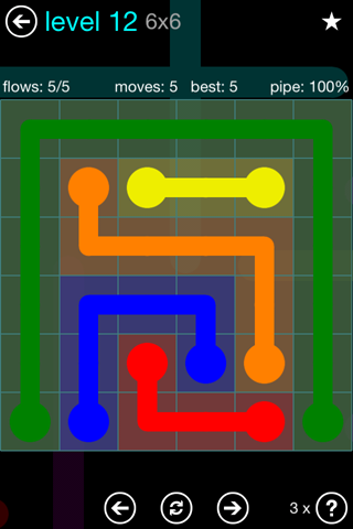 Solution and Answer to the Puzzle for Flow Blue Pack Set 6x6 Level 12