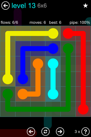 Solution and Answer to the Puzzle for Flow Blue Pack Set 6x6 Level 13