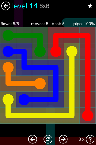Solution and Answer to the Puzzle for Flow Blue Pack Set 6x6 Level 14