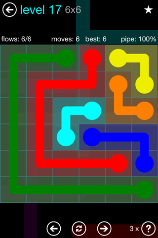 Solution and Answer to the Puzzle for Flow Blue Pack Set 6x6 Level 17
