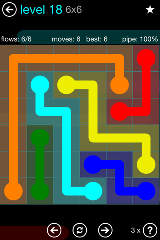 Solution and Answer to the Puzzle for Flow Blue Pack Set 6x6 Level 18