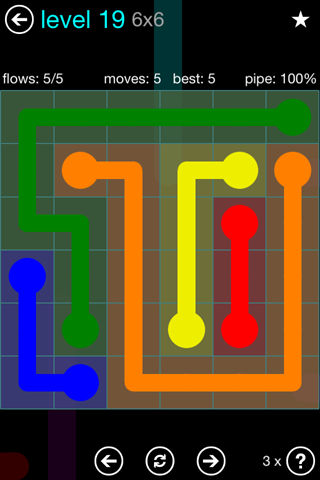 Solution and Answer to the Puzzle for Flow Blue Pack Set 6x6 Level 19