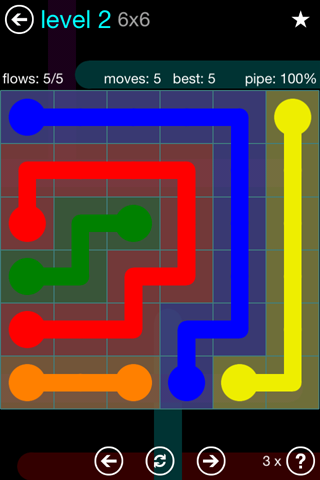 Solution and Answer to the Puzzle for Flow Blue Pack Set 6x6 Level 2