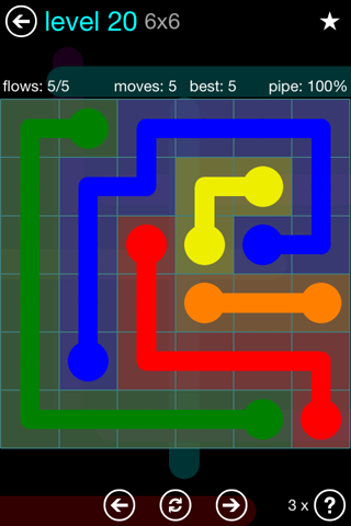 Solution and Answer to the Puzzle for Flow Blue Pack Set 6x6 Level 20