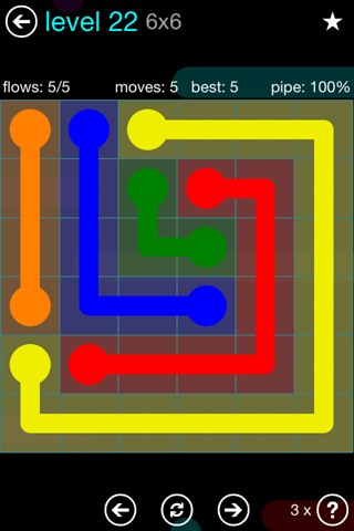 Solution and Answer to the Puzzle for Flow Blue Pack Set 6x6 Level 22