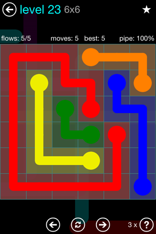 Solution and Answer to the Puzzle for Flow Blue Pack Set 6x6 Level 23