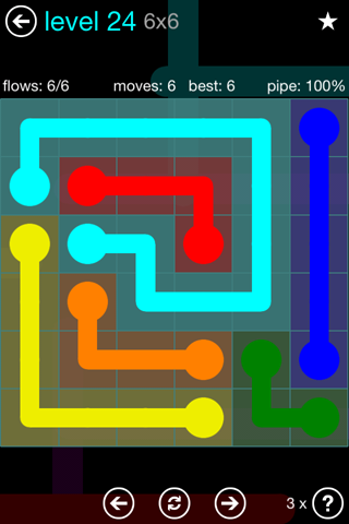Solution and Answer to the Puzzle for Flow Blue Pack Set 6x6 Level 24
