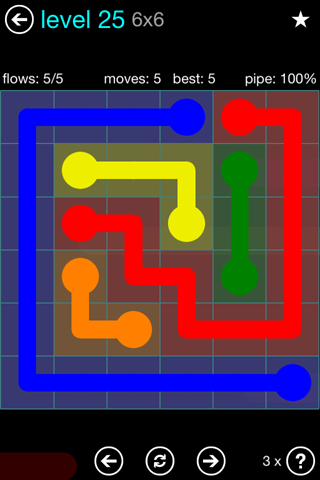 Solution and Answer to the Puzzle for Flow Blue Pack Set 6x6 Level 25