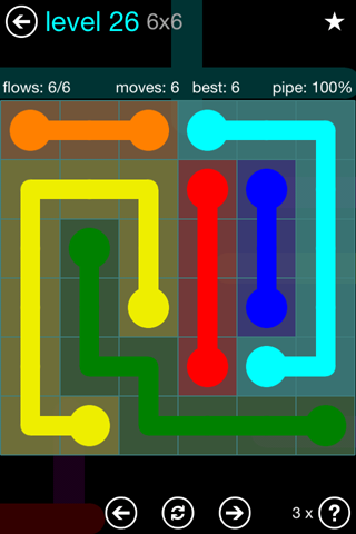Solution and Answer to the Puzzle for Flow Blue Pack Set 6x6 Level 26