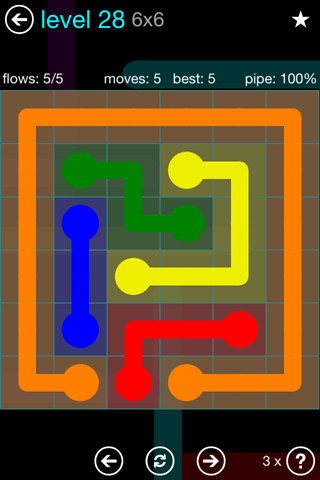 Solution and Answer to the Puzzle for Flow Blue Pack Set 6x6 Level 28