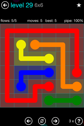 Solution and Answer to the Puzzle for Flow Blue Pack Set 6x6 Level 29