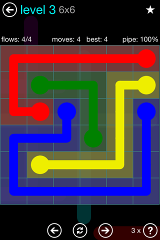 Solution and Answer to the Puzzle for Flow Blue Pack Set 6x6 Level 3