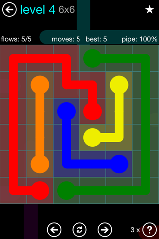 Solution and Answer to the Puzzle for Flow Blue Pack Set 6x6 Level 4