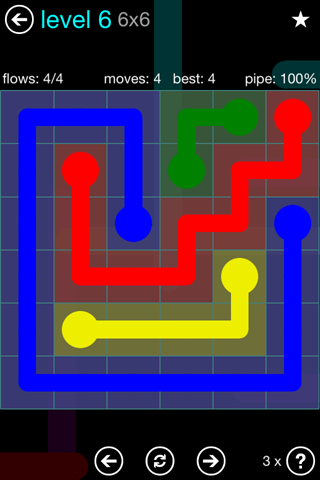 Solution and Answer to the Puzzle for Flow Blue Pack Set 6x6 Level 6