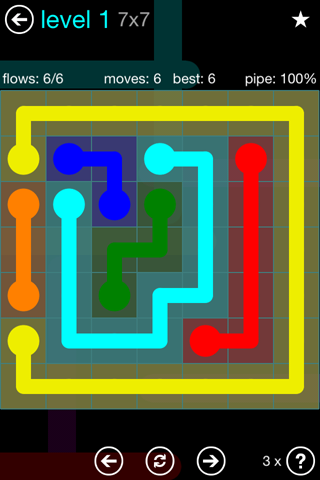 Solution and Answer to the Puzzle for Flow Blue Pack Set 7x7 Level 1