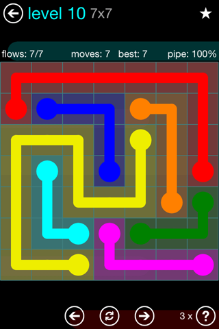 Solution and Answer to the Puzzle for Flow Blue Pack Set 7x7 Level 10