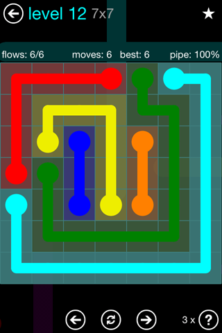 Solution and Answer to the Puzzle for Flow Blue Pack Set 7x7 Level 12