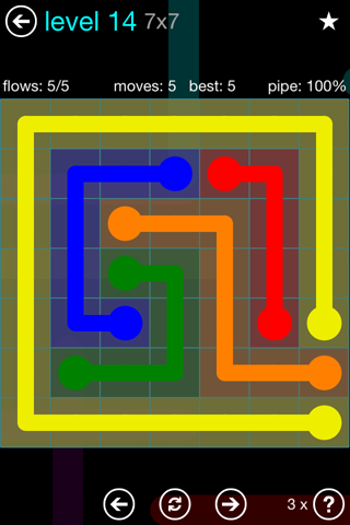 Solution and Answer to the Puzzle for Flow Blue Pack Set 7x7 Level 14