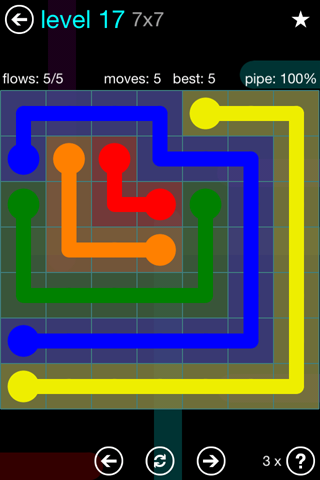 Solution and Answer to the Puzzle for Flow Blue Pack Set 7x7 Level 17