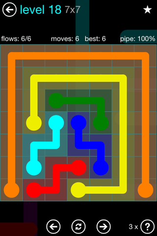 Solution and Answer to the Puzzle for Flow Blue Pack Set 7x7 Level 18