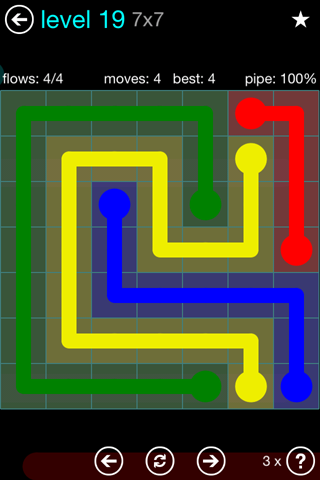 Solution and Answer to the Puzzle for Flow Blue Pack Set 7x7 Level 19