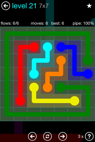 Solution and Answer to the Puzzle for Flow Blue Pack Set 7x7 Level 21