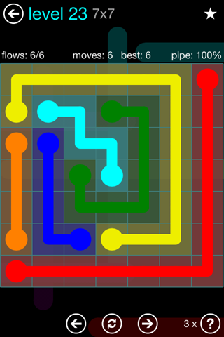 Solution and Answer to the Puzzle for Flow Blue Pack Set 7x7 Level 23