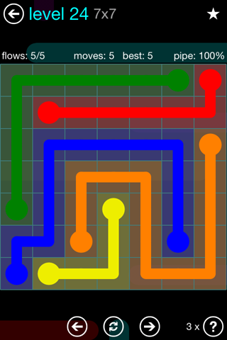 Solution and Answer to the Puzzle for Flow Blue Pack Set 7x7 Level 24