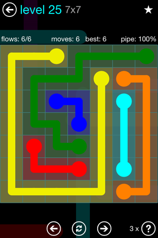 Solution and Answer to the Puzzle for Flow Blue Pack Set 7x7 Level 25