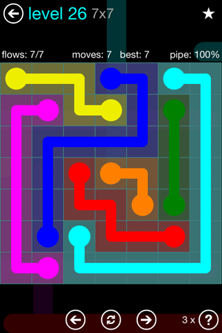 Solution and Answer to the Puzzle for Flow Blue Pack Set 7x7 Level 26