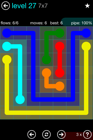 Solution and Answer to the Puzzle for Flow Blue Pack Set 7x7 Level 27