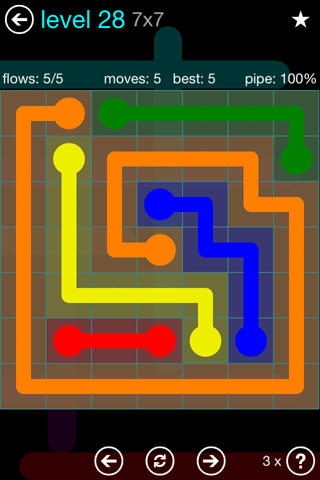 Solution and Answer to the Puzzle for Flow Blue Pack Set 7x7 Level 28