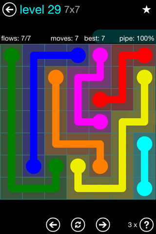 Solution and Answer to the Puzzle for Flow Blue Pack Set 7x7 Level 29